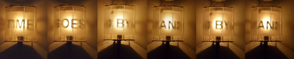 Zwei Drehlampen (Time goes by), 2012, verschiedene Materialien, 2 x 35 x 35 x 45 cm