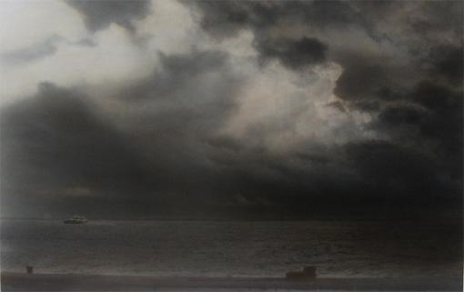 Nachtstück Rio Tejo (Lissabon), 2012, 41 x 58 cm, s-w-Barytpapier koloriert, Edition 2