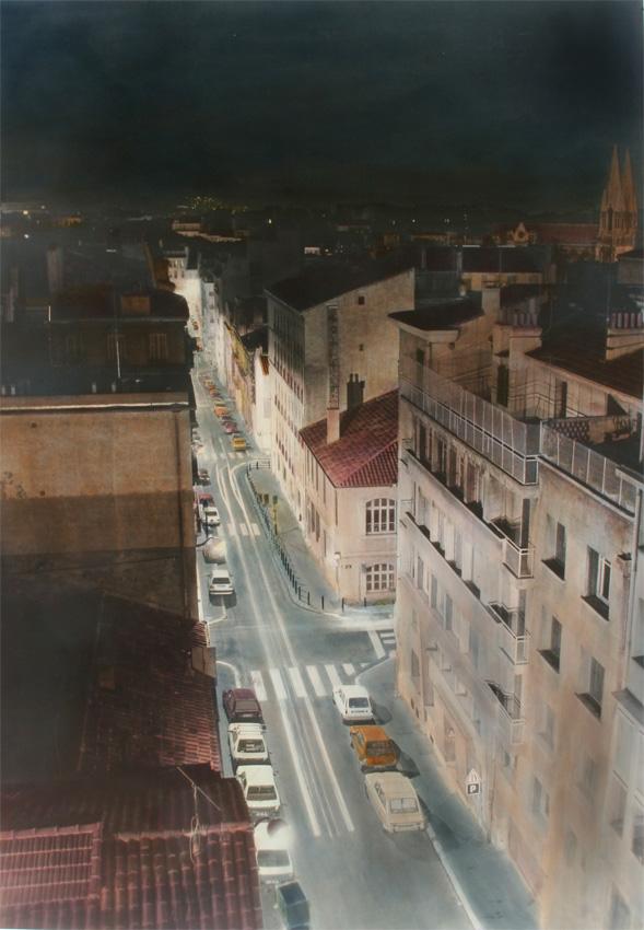 Nachtstück Rue des Abeilles (Marseille) III, 2015, 140 x 102 cm, s-w-Barytpapier koloriert, Edition 2