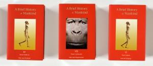 """Detail aus """"Bibliothek Nr.III - Eine kurze Geschichte der Menschheit"""", 2000/2001, (grafische Mitarbeit: Gösta Röver), 46,5 x 308 cm, Lambdachrome, Edition 2"""