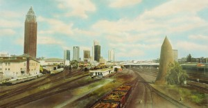 Güterbahnhof West II (Frankfurt), 1994/2000, 61 x 114 cm, s-w-Barytpapier koloriert, Edition 2
