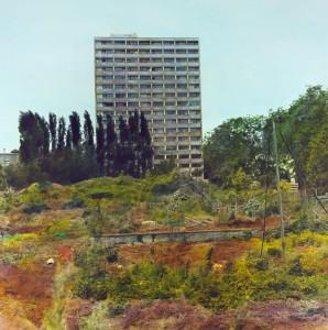 Haus mit Garten (Frankfurt-Niederrad), 1995, 92,5 x 92,5 cm, s-w-Barytpapier koloriert, Edition 2