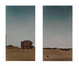 Hund, Mond, Haus (Costa Caparica, Portugal), 2008, 2 x 57 x 32 cm, s-w-Barytpapier koloriert, Edition 5