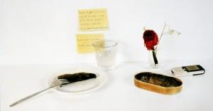 Stilleben mit Bücklingen und Bibelzitat, 2005, 40,5 x 73,5 cm, s-w-Barytpapier koloriert, Edition 2