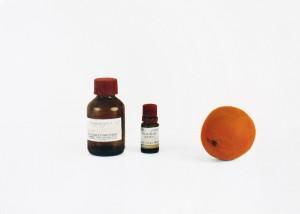 Stilleben mit Orange und Rosenöl, 2001, 31 x 42 cm, s-w-Barytpapier koloriert, Edition 2
