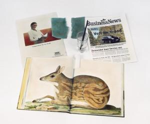 Stilleben mit Buch und Zeitung, 2007, 72 x 87 cm, s-w-Barytpapier koloriert, Edition 2