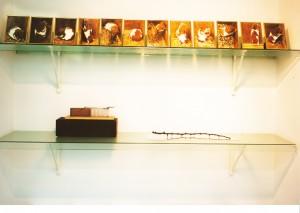 """Sequenz aus """"S."""" , 1996, """"Erweiterte Lebendfalle"""", 1991, """"Dornenzweig"""", 1996. Ausstellungsansicht Galerie Van Laere Contemporary Art, Antwerpen 1998."""