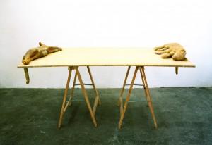 Turniertisch, 1994, 90 x 160 x 80 cm, Wachs, Holz