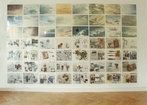 Wolken/Zeitungen, 64 x 40 x 58 cm, 1991/92, s-w-Barytpapier koloriert, Edition 2, Ausstellung Galerie Vierte Etage, Berlin 1993