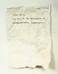 Liebe Karin, 2007, 40 x 32 cm, s/w-Barytpapier koloriert, Edition 2